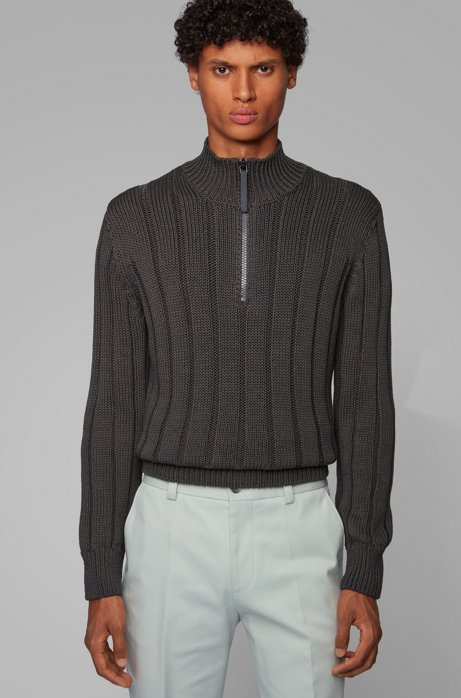 Wide-rib zip-neck sweater in mercerized cotton, Open Grey