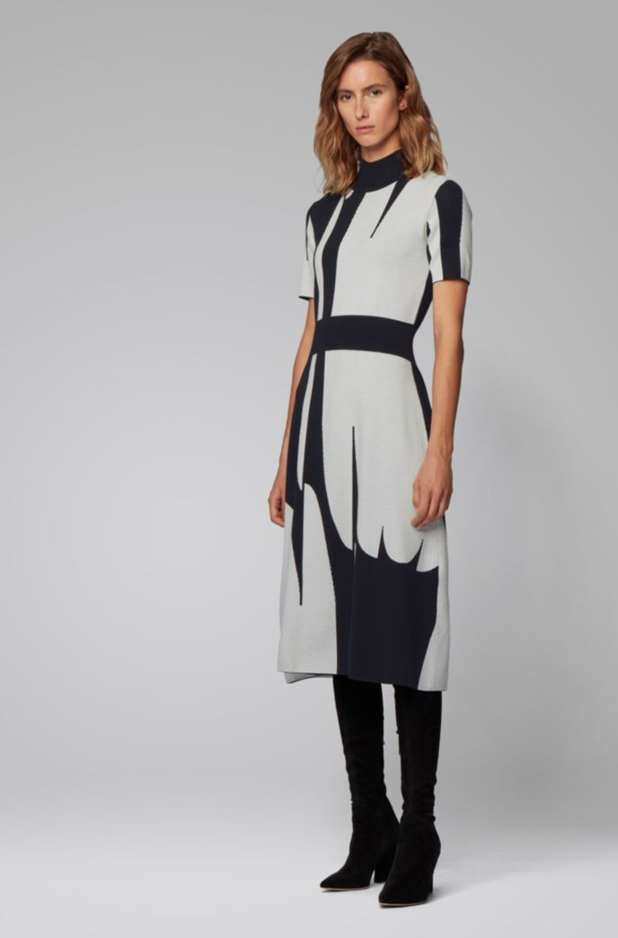 Mock-neck knitted dress with abstract pattern