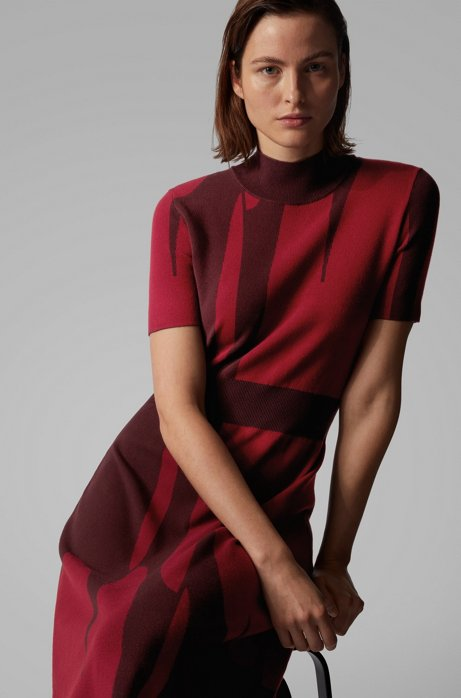 Mock-neck knitted dress with abstract pattern, Patterned