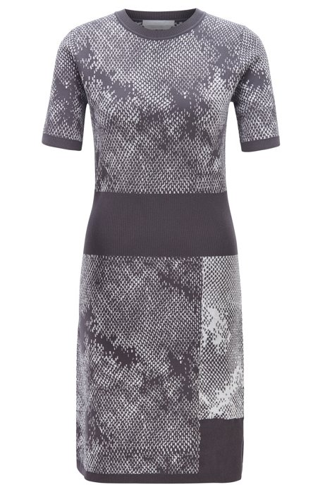 Knitted dress in two-tonal jacquard with snake pattern, Patterned