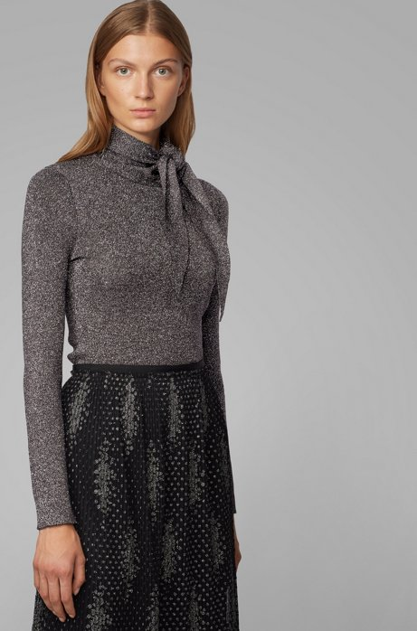 Slim-fit knitted sweater with tie neck, Patterned