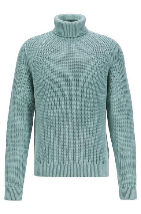 Virgin-wool roll-neck sweater with diagonal ribbing, Light Green
