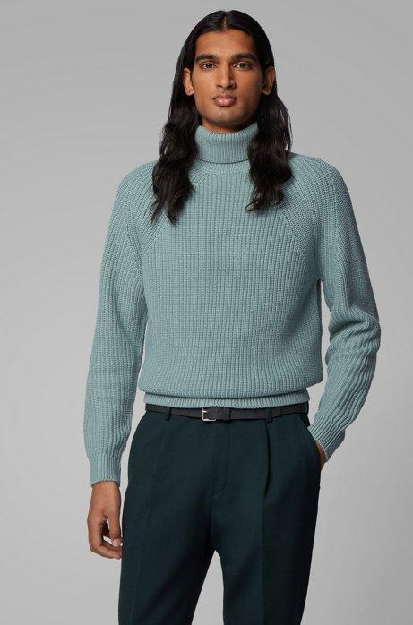 Virgin-wool roll-neck sweater with diagonal ribbing, Light Green