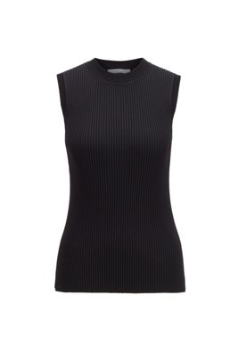 Sleeveless knitted top with ribbed structure and mock neckline, Black