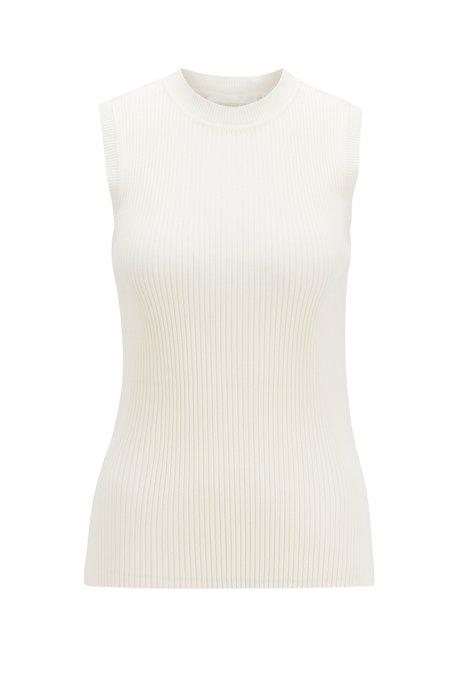 Sleeveless knitted top with ribbed structure and mock neckline, Natural