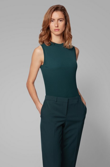 Sleeveless knitted top with ribbed structure and mock neckline, Dark Green