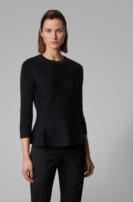 Slim-fit sweater with peplum hem and crew neckline, Black