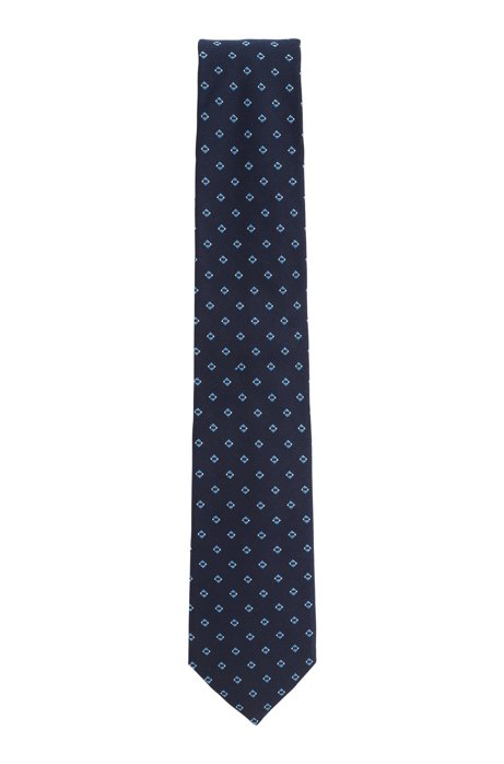 Tie with jacquard pattern in silk blend, Dark Blue