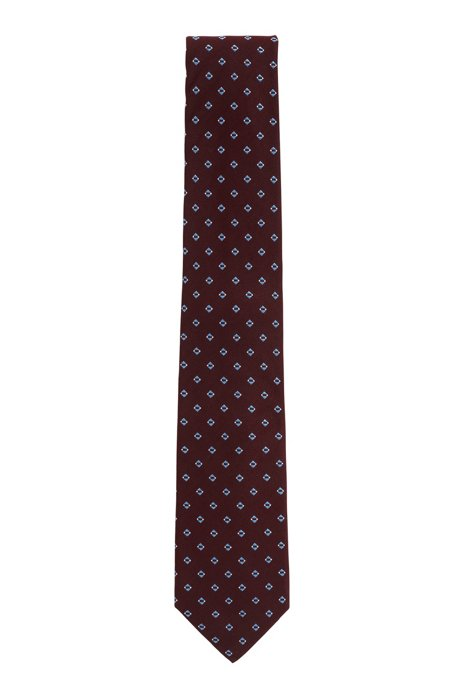 Tie with jacquard pattern in silk blend, Dark Red