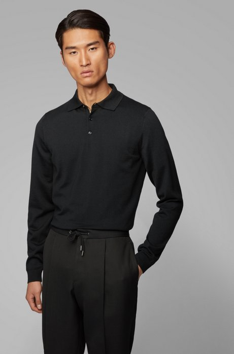 Slim-fit polo shirt in wool jersey with metallic accents, Black