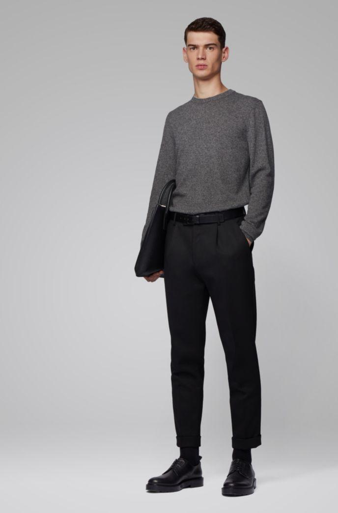 Regular-fit sweater in mouliné virgin wool