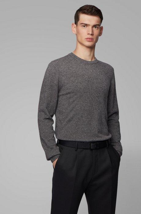 Regular-fit sweater in mouliné virgin wool, Open Grey