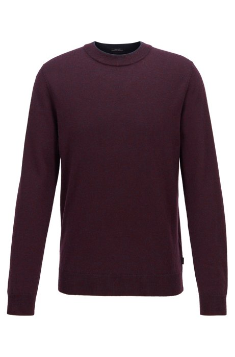 Regular-fit sweater in mouliné virgin wool, Dark Blue