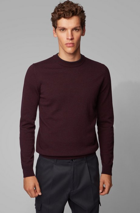 Regular-fit sweater in mouliné virgin wool, Dark Blue