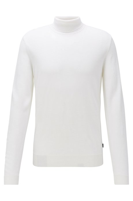 Turtleneck sweater in virgin wool and silk, White