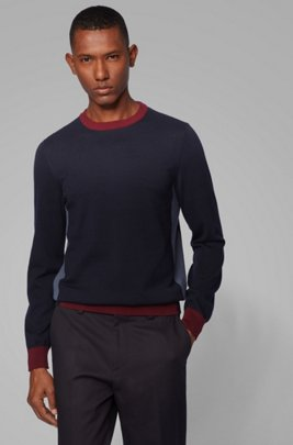 Regular-fit sweater with color-block hemline, Dark Blue