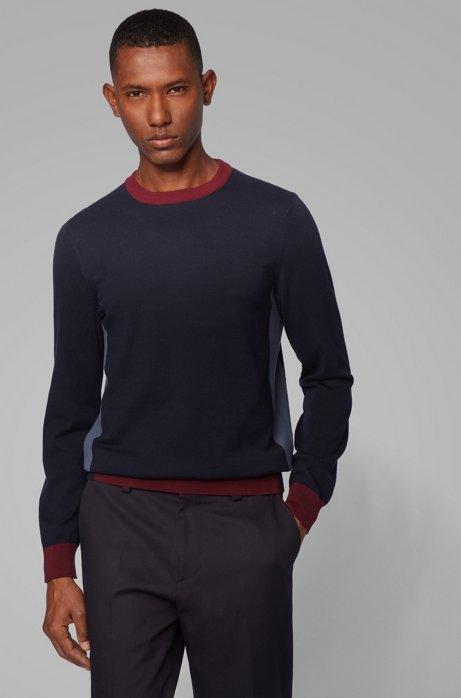 Regular-fit sweater with color-block hemline, Dark Blue