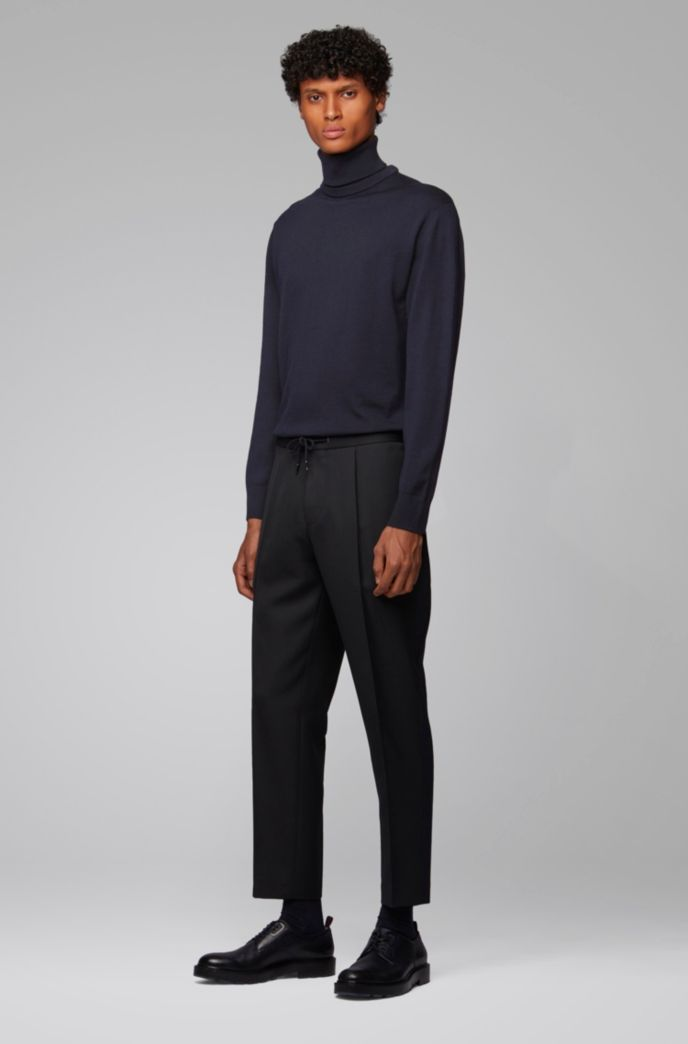 Hybrid-neckline sweater in Italian virgin wool