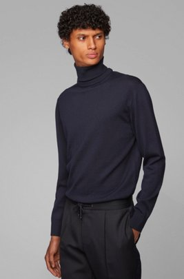 Hybrid-neckline sweater in Italian virgin wool, Dark Blue