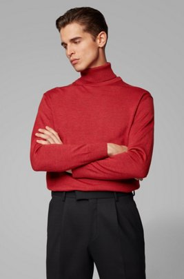 Hybrid-neckline sweater in Italian virgin wool, Red