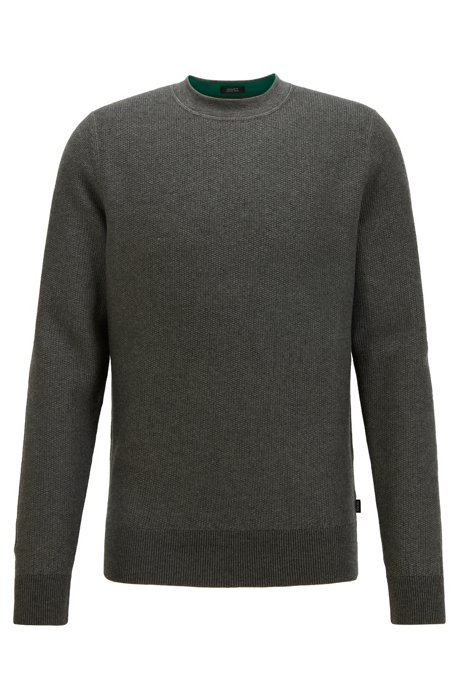 Regular-fit sweater in structured cotton and wool, Grey