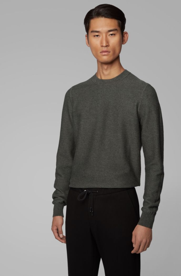 Regular-fit sweater in structured cotton and wool