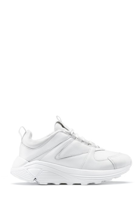 Chunky lace-up sneakers in leather, fabric and mesh, White