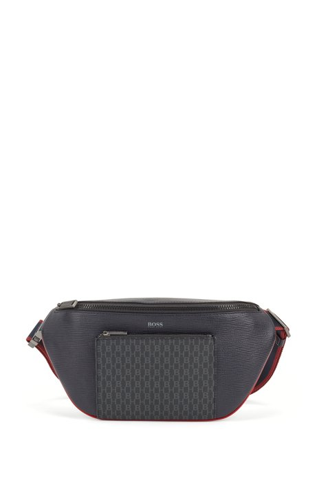 Belt bag in Italian monogram fabric and embossed leather, Dark Blue