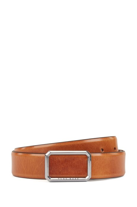 Leather belt with closed buckle in polished silver-tone hardware, Brown