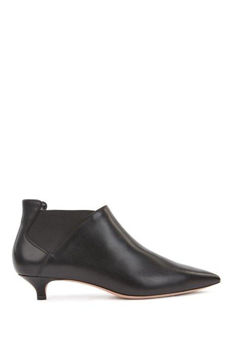 Italian-leather booties with kitten heel, Black
