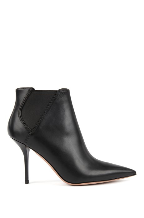 High-heeled ankle boots in leather with elastic panels, Black