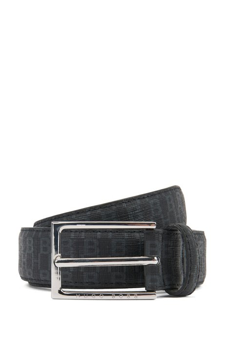 Italian-made belt in coated fabric with monogram print, Black