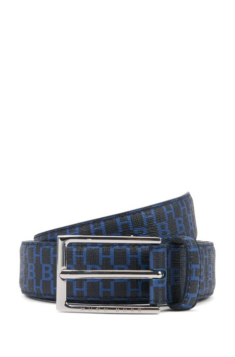 Italian-made belt in coated fabric with monogram print, Dark Blue
