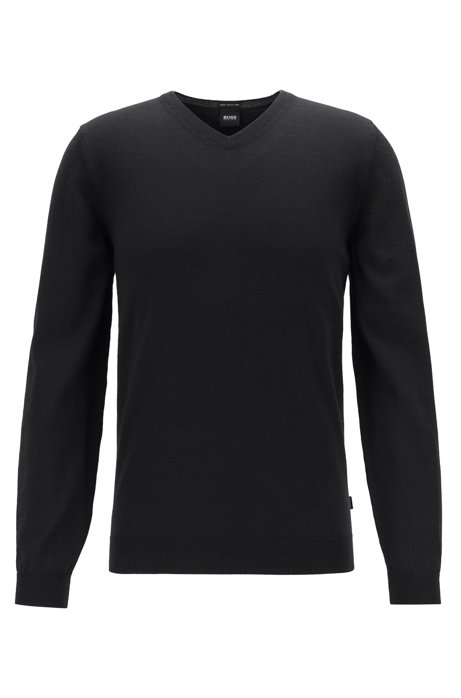 V-neck sweater in virgin wool, Black