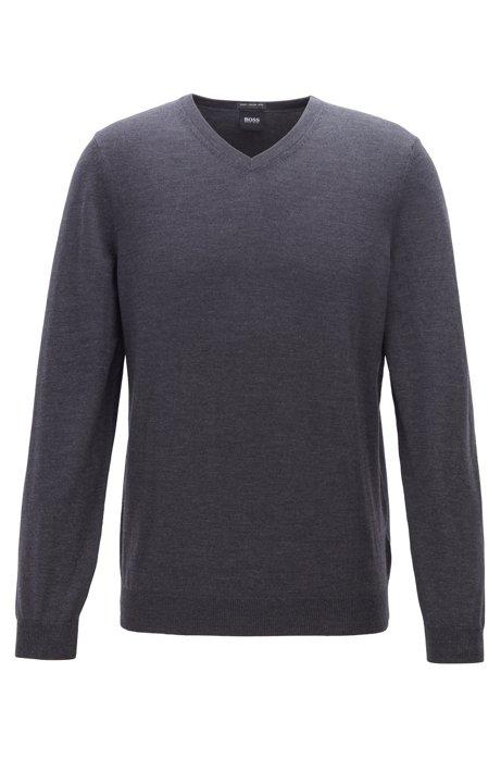 V-neck sweater in virgin wool, Open Grey