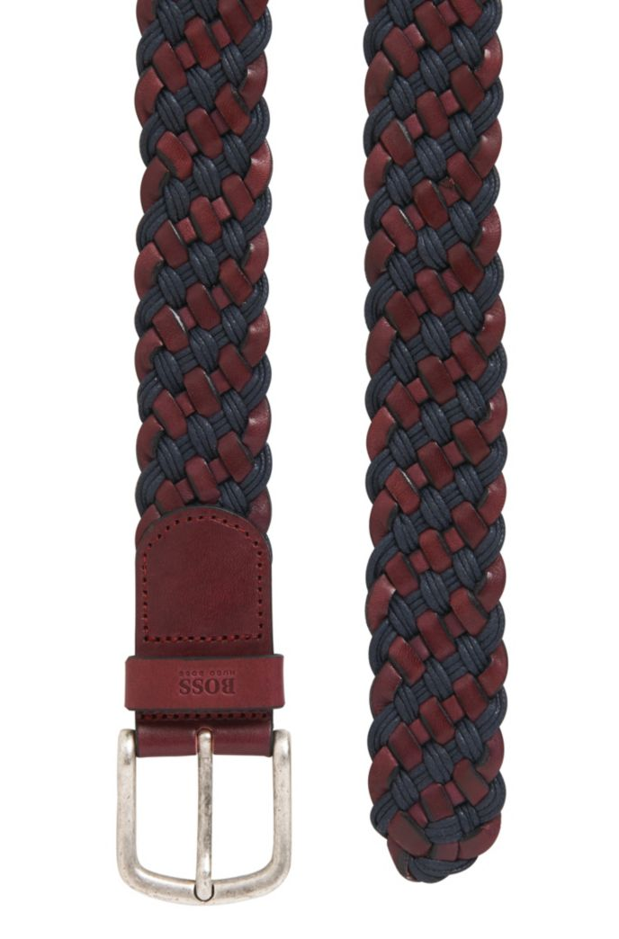 Woven belt in leather with rounded buckle