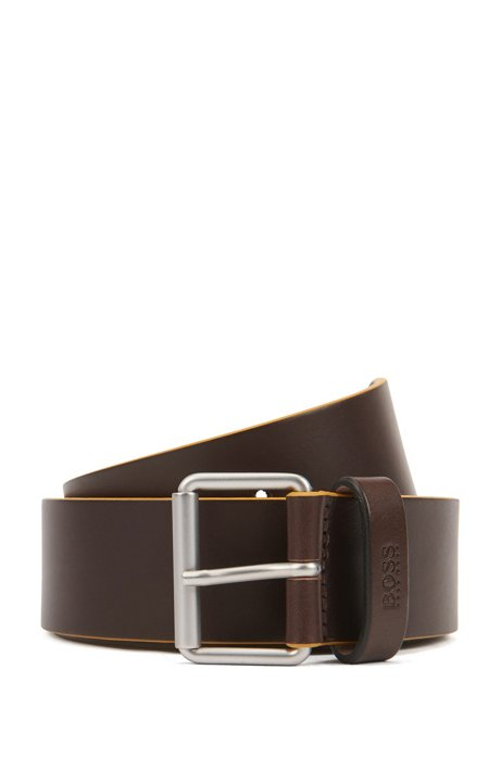 Leather belt with roller buckle in brushed silver, Dark Brown