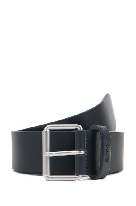 Leather belt with roller buckle in brushed silver, Dark Blue