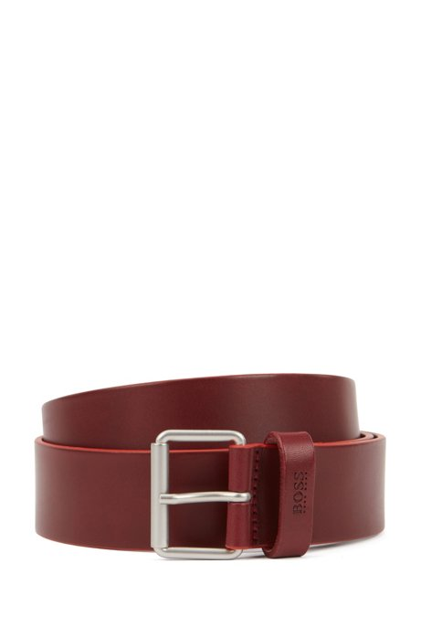 Leather belt with roller buckle in brushed silver, Dark Red