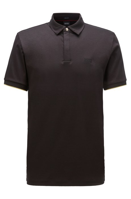 Polo shirt in interlock cotton with golden accents, Black
