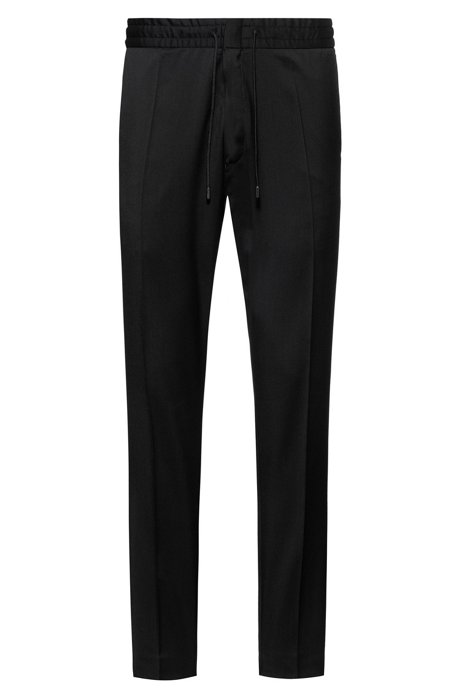 Tapered-fit pants in virgin wool with elastic waist, Black
