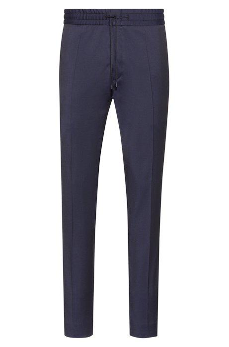 Tapered-fit pants in virgin wool with elastic waist, Dark Blue
