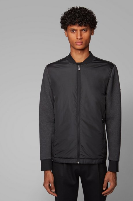 Zip-through sweatshirt with padded front panel, Open Grey