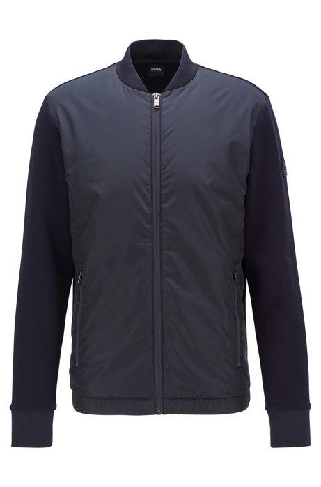 Zip-through sweatshirt with padded front panel, Dark Blue