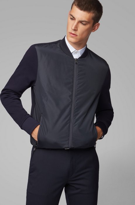 Zip-through sweatshirt with padded front panel, Dark Blue