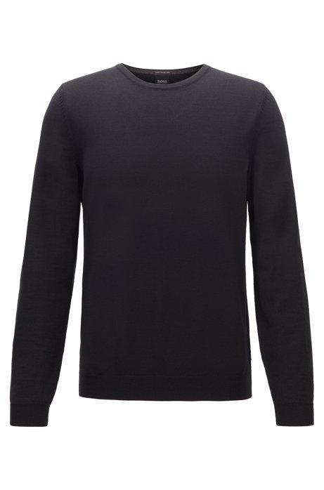 Crew-neck sweater in virgin-wool jersey, Black