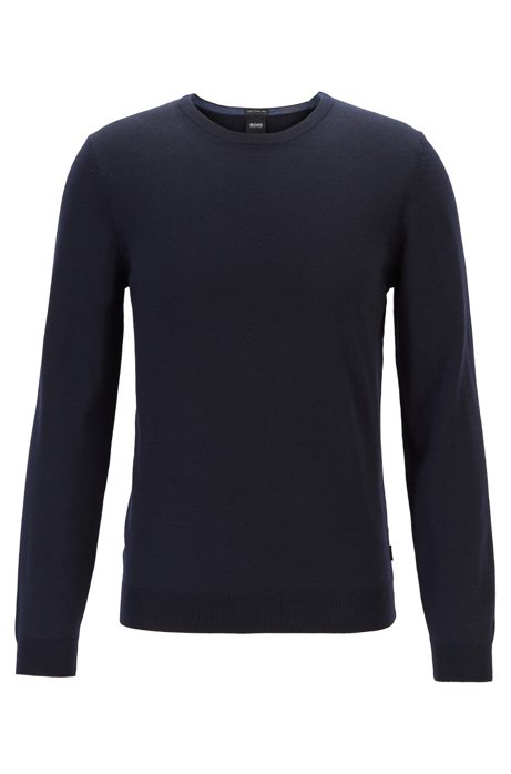 Crew-neck sweater in virgin-wool jersey, Dark Blue