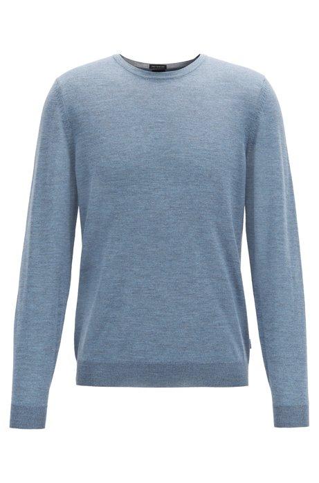 Crew-neck sweater in virgin-wool jersey, Open Blue