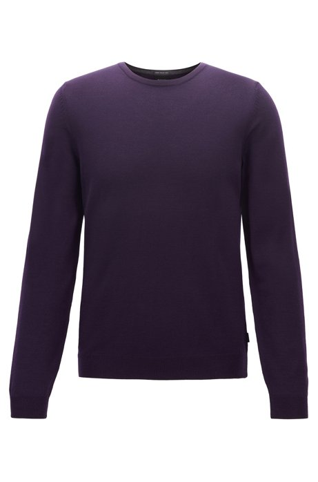 Crew-neck sweater in virgin-wool jersey, Dark Purple
