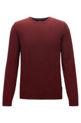 Crew-neck sweater in virgin-wool jersey, Dark Red